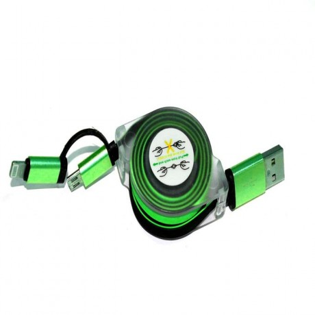 Stretchable Charging USB Data Cable G-48 For Android & Iphone 2x1 - Green