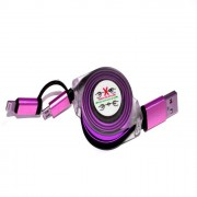 Stretchable Charging USB Data Cable G-48 For Android & Iphone 2x1 - purple