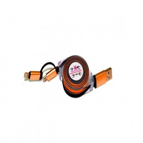 Stretchable Charging USB Data Cable G-48 For Android & Iphone 2x1 - ORANGE