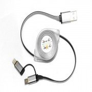 Stretchable Charging USB Data Cable G-48 For Android & Iphone 2x1 - silver